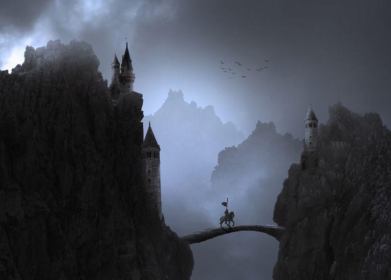 рыцарь, небо, скалы, облака, ночь Ночной дозорphoto preview