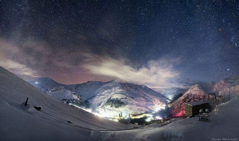 зима, кавказ, эльбрус, терскол, ночь, звезды, горы, Терскол ночьюphoto preview