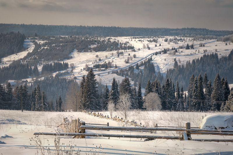 успенка, село, пейзаж, пермский край, зима, мороз, холод, снег, лес, деревья, дороги Зима в Успенкеphoto preview