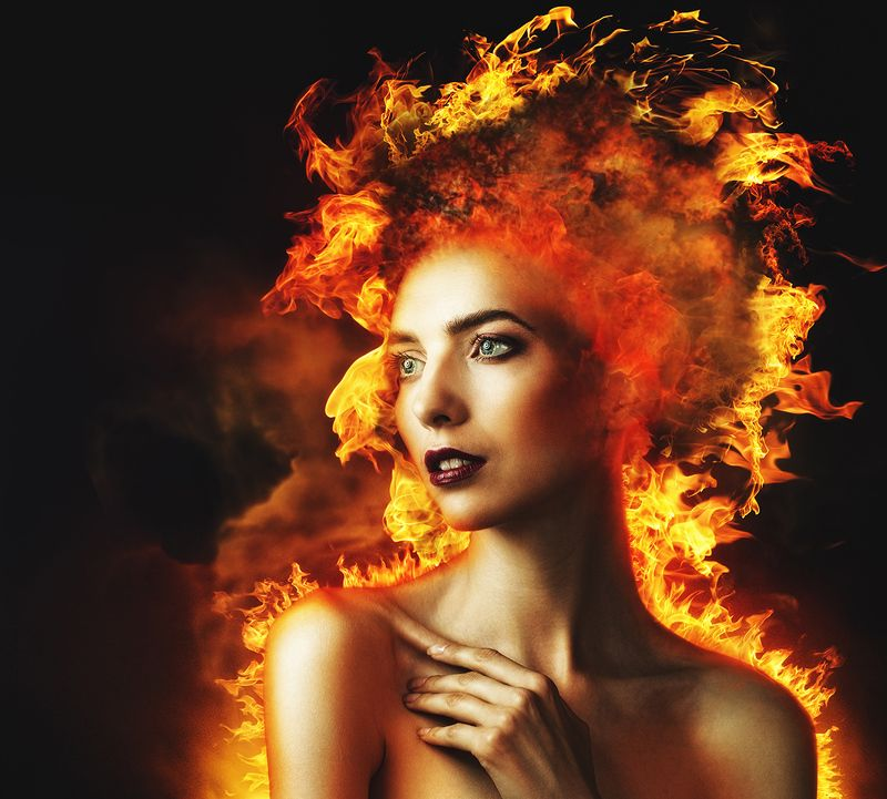 firestarter, fire, burn, burning, flame, female, portrait, woman, girl, danger, пламя, огонь, девушка, портрет, женский портрет, воспламеняющая взглядом, пожар, горящая Firestarterphoto preview