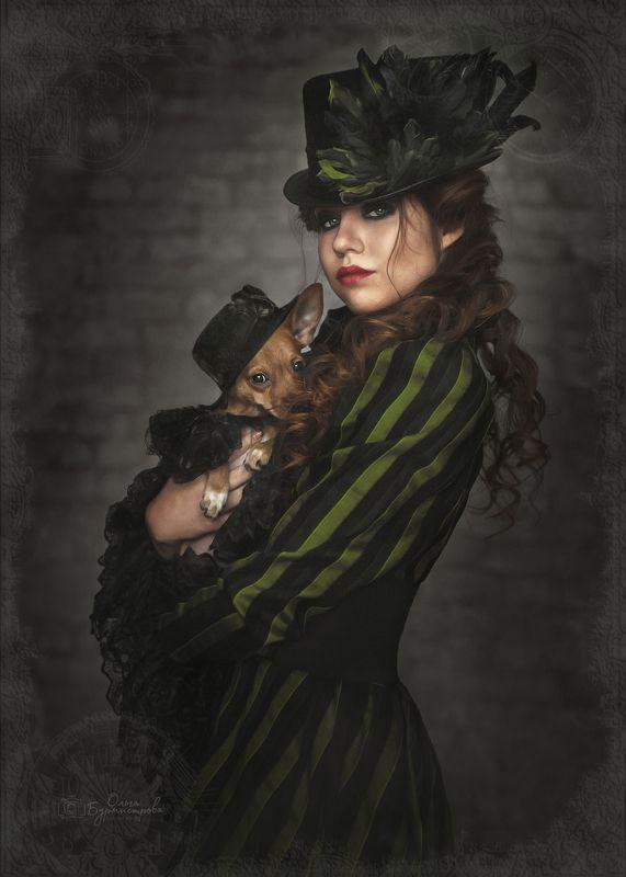 фото в образе, сказка, арт фото, steampunk girl, стимпанк, шляпа, дама с собачкой Steampunk girlphoto preview