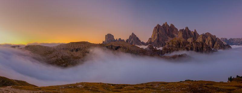 moutains,alpen,tyrol,trentino,auronzo,dolomiti,dolomity,dolomites,dolomiten,italy,italia,fog,mist,panorama,landscape,europe,moutain,sunrise, Dolomites at Italien Alpsphoto preview