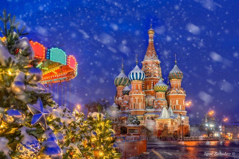 собор василия блаженного, москва, зима, утро, st. basil\'s cathedral, moscow, winter, morning, снег, snow С Наступающим 2019 годом!photo preview
