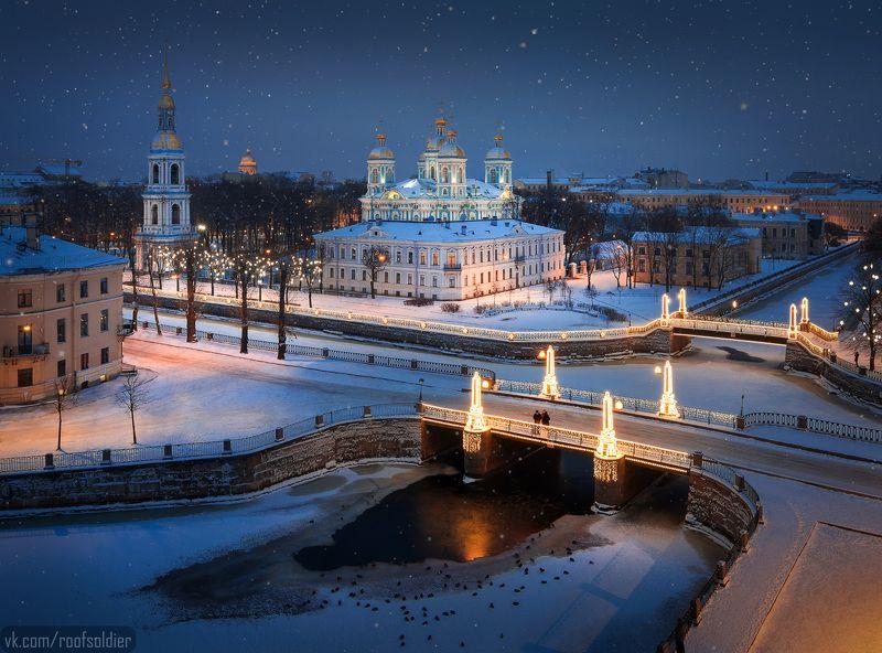 Город, храм, церковь, мост, иллюминация, крыша, снег, зима, пейзаж, открытка С Новым Годом, Петербург!photo preview
