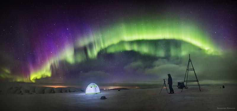Хибины, сияние, мурманская, полярное сияние, горы, палатка На вершине горыphoto preview
