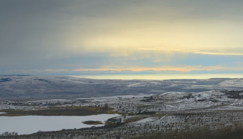 зима горы горизонт Зимний пейзажphoto preview