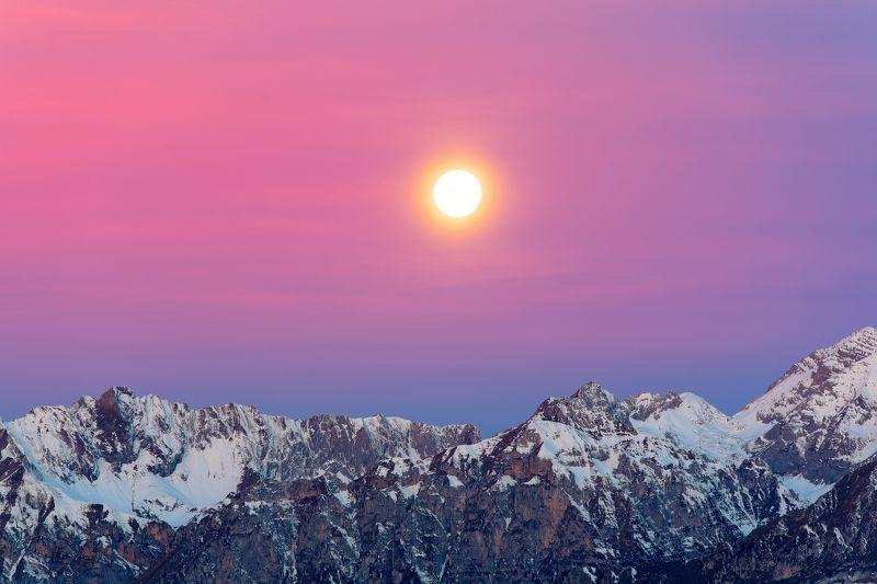 moon,italy,dolomites,dolomiti,moutains,europe,trento,alpen, Dolomites moutainsphoto preview