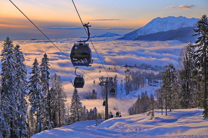 горы закат  Над облакамиphoto preview