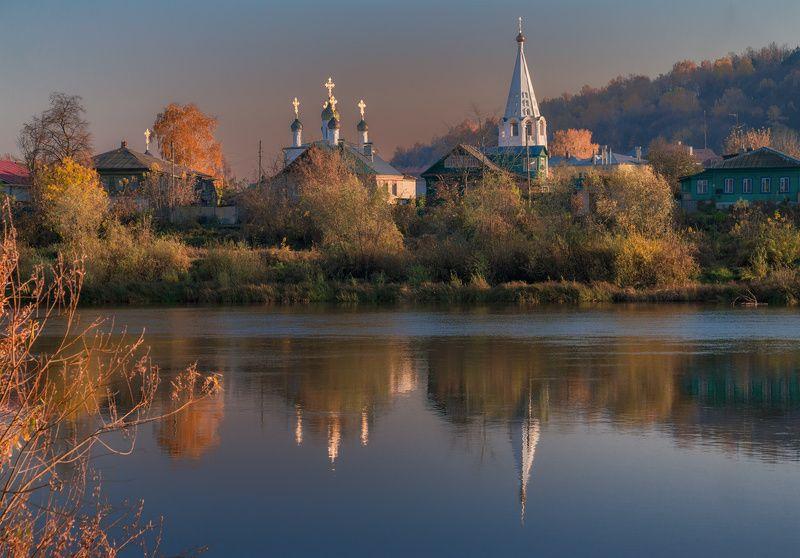 гороховец, осень, река, клязьма, вечер, храм Гороховец. Осеньphoto preview