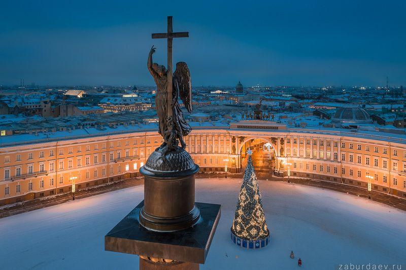 россия, петербург, зима, утро, рассвет Ангел, уставший от квадрокоптеровphoto preview