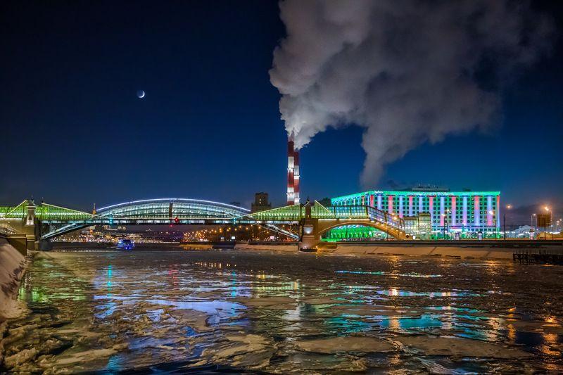 зима, вечер, река, москва,мост, вокзал, труба, дым Зимняя Москваphoto preview