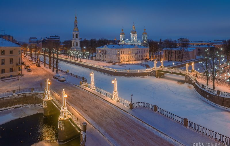 россия, петербург, санкт-петербург, город, зима, утро, рассвет, архитектура, дрон Семимостье Никольский Морской соборphoto preview