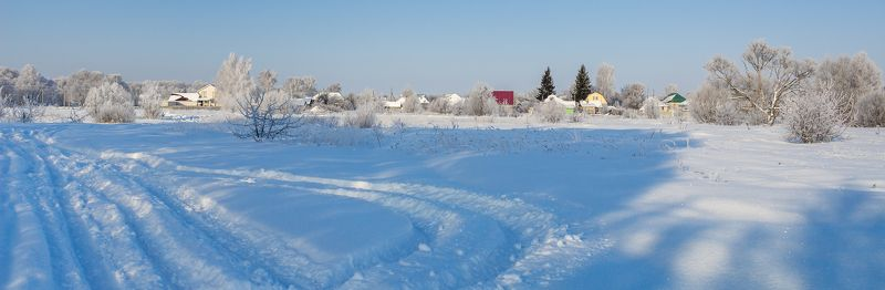 снег, рождество, иней, зима, деревня photo preview