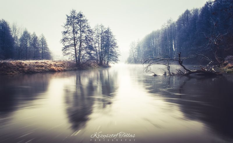winter,river,gwda,nature,landscape,sky,light,mist,nikon,trees,morning,water,mirror River Gwda in the morningphoto preview