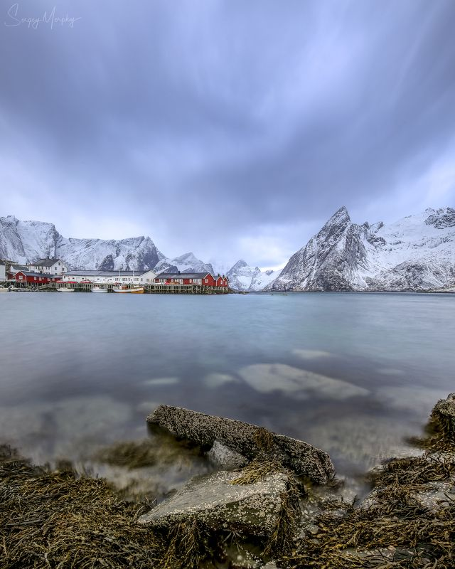 weather  hamnoy. lofotens. Harsh weather in Hamnoy. Lofotens.photo preview