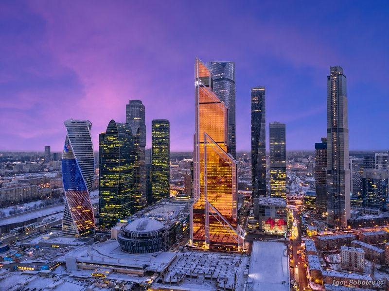 москва-сити, москва, зима, moscow city, moscow, winter Москва-сити на закатеphoto preview