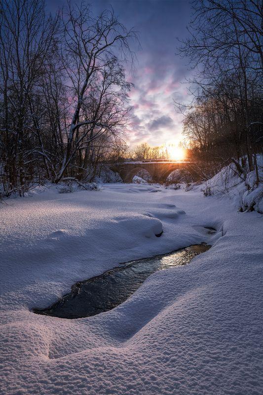 река лава, зима, закат, ленинградская область Замёрзшая Лаваphoto preview