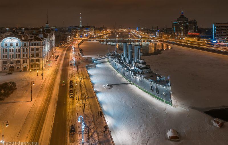 россия, петербург, санкт-петербург, город, архитектура, корабль, вечер, снег, зима Крейсер «Аврора»photo preview