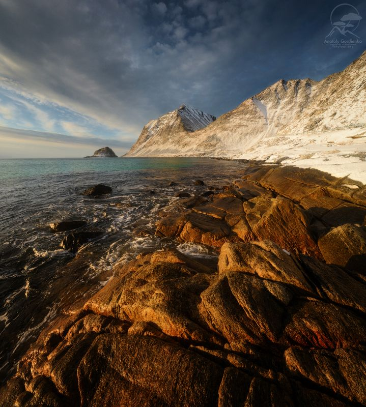 пейзаж, природа, море, норвегия, лофотены Haukland beachphoto preview