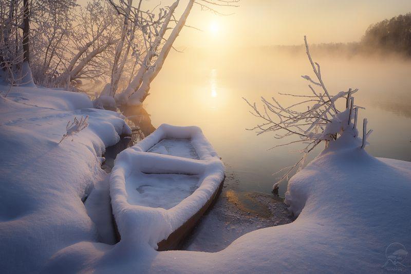 пейзаж, природа, озеро, лодка, шатура, зима, мороз Зимовкаphoto preview