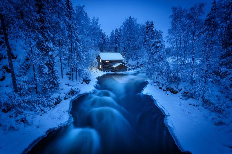 река, зима, финляндия Мельница у водного порога Мюллюкоски.photo preview