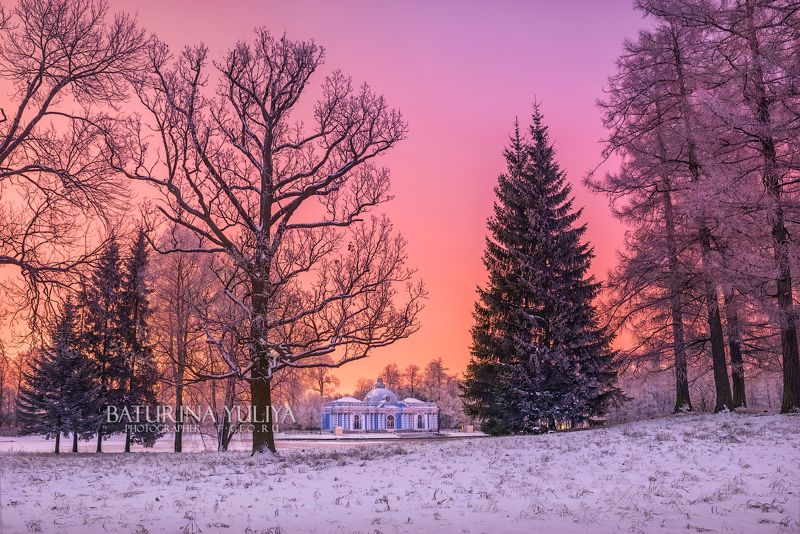 царское село, грот, парк Розовый свет в паркеphoto preview