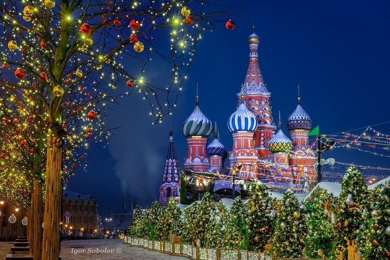 собор василия блаженного, москва, покровский собор, ночь, st. basil\'s cathedral, moscow, winter, night Покровский соборphoto preview