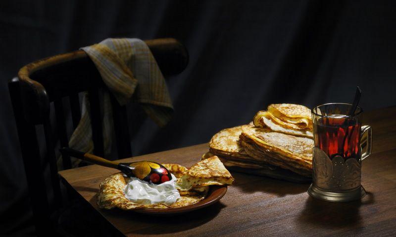 чай блины сметаны ужин С чаем.photo preview