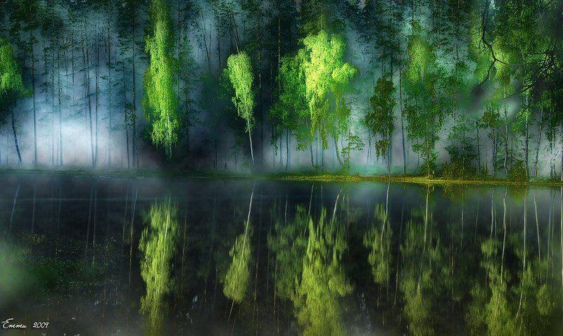 волшебство, колдовство, мистика, природа, утро, туман, озеро, лес Заколдованное озеро.photo preview
