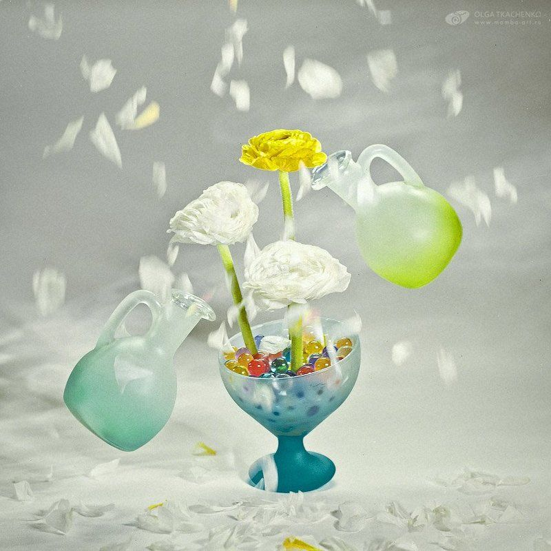 spring cocktail, still life, gel balls, bottles, ranunculus, flowers Spring cocktailphoto preview