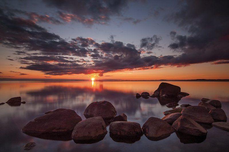 море, вечер, закат, камни, балтика Просто закатphoto preview