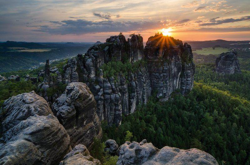 германия,саксония,саксонская швейцария,закат,пейзаж Schrammsteinphoto preview