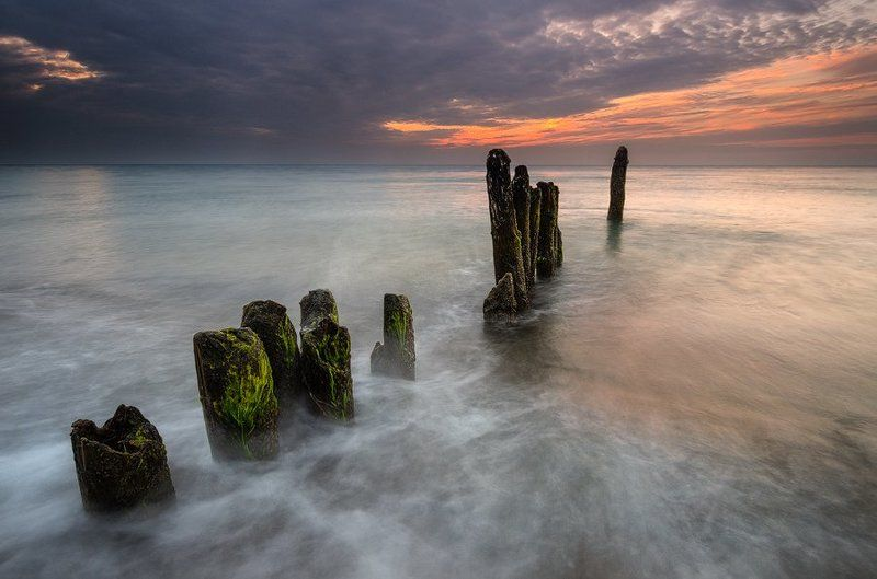 море, балтика, германия, пейзаж, вечер Огонь и пенаphoto preview