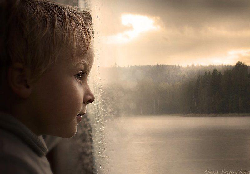 дождь, ребёнок, озеро, профиль После дождяphoto preview