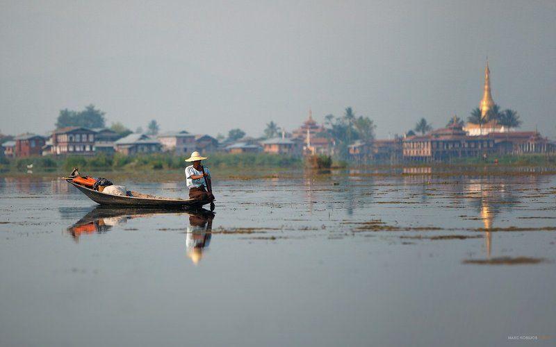 мьянма, бирма, озеро инле, лодка, рыбак, пагода, ступа Мьянма. На озере Инле.photo preview