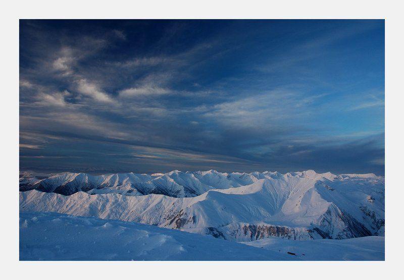 гудаури, грузия, горы, рассвет Утроphoto preview
