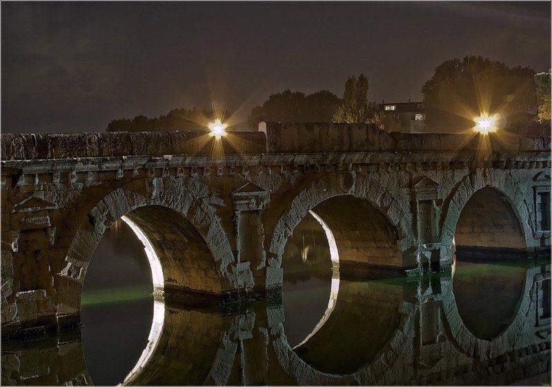 италия, мост тиберия, ночь, римини, foto liubos Мост Тиберия (Ponte di Tiberio)photo preview